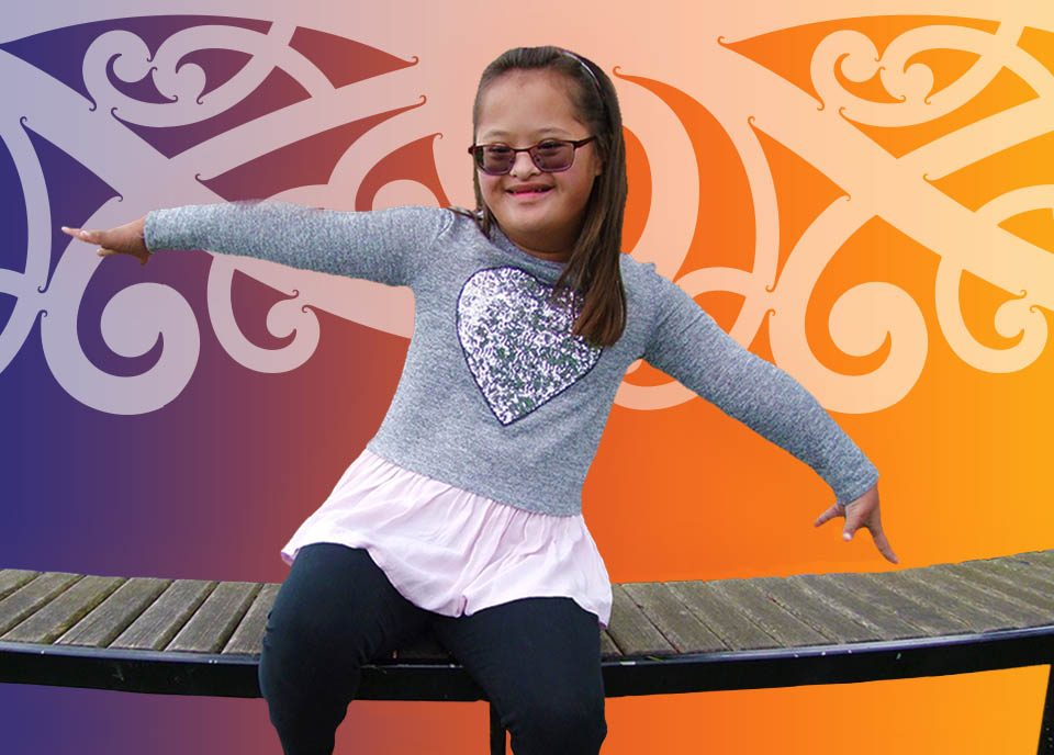 Maori girl sitting on a bench